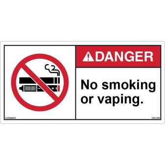 ANSI Safety Label - Danger - No Smoking or Vaping