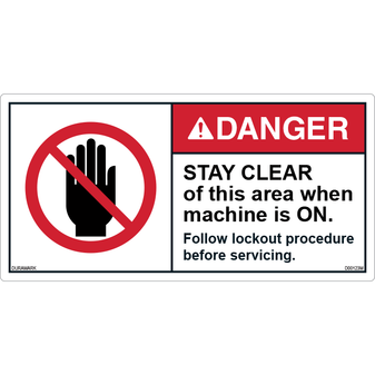 ANSI Safety Label - Danger - Stay Clear - Lockout Procedure