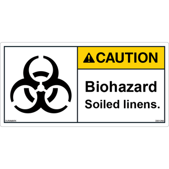 Caution - Biohazard - Soiled Linens - ANSI Safety Label