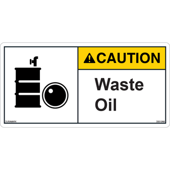 ANSI Safety Label - Caution - Waste Oil