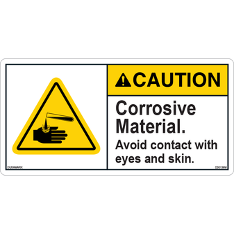 ANSI Safety Label - Caution - Corrosive Material - Eye/Skin Contact