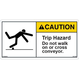 ANSI Safety Label - Caution - Trip Hazard - Conveyor