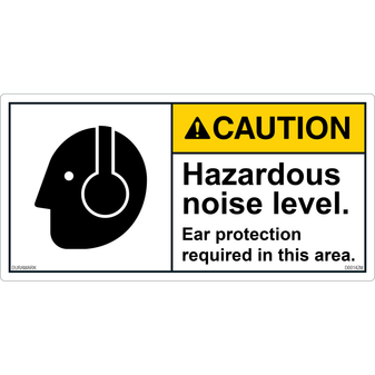 ANSI Safety Label - Caution - Hazardous Noise Level - Ear Protection