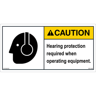 ANSI Safety Label - Caution - Hearing Protection Required - Operating Equipment