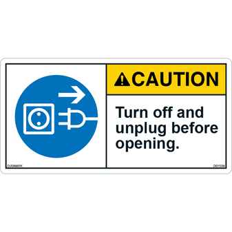 ANSI Safety Label - Caution - Electrical Safety - Turn Off/Unplug