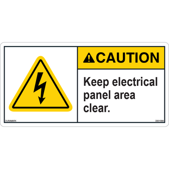 ANSI Safety Label - Caution - Electrical Safety - Keep Panel Clear