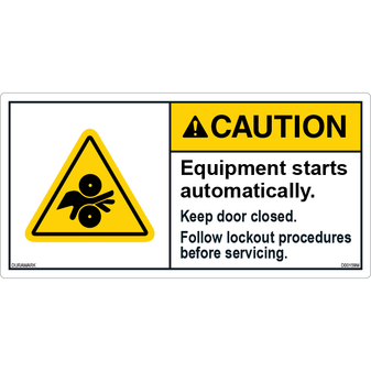 ANSI Safety Label - Caution - Equipment Starts Automatically - Lockout Procedure