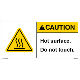 ANSI Safety Label - Caution - Hot Surface - Do Not Touch - Triangle