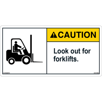 ANSI Safety Label - Caution - Forklift Safety - Look Out