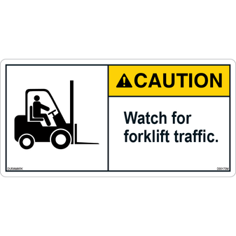 ANSI Safety Label - Caution - Forklift Safety - Watch for Traffic