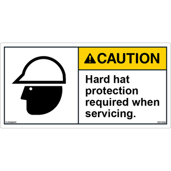 ANSI Safety Label - Caution - Hard Hat - Protection Required
