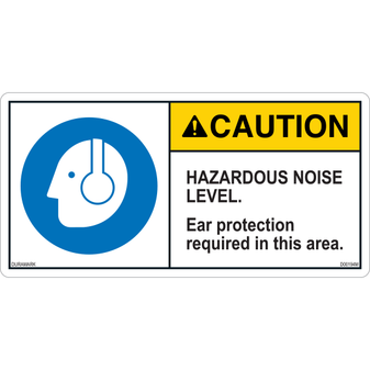 ANSI Safety Label - Caution - Ear Protection - Hazardous Noise Level