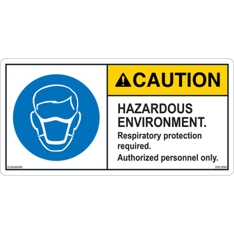 ANSI Safety Label - Caution - Respiratory Protection - Hazardous Environment