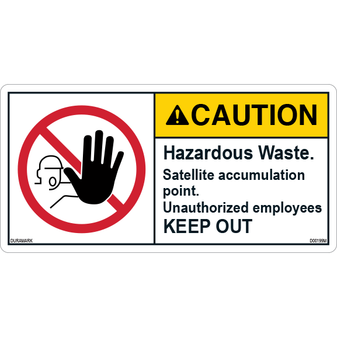 ANSI Safety Label - Caution - Hazardous Waste - Satellite Accumulation Point