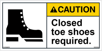 ANSI Safety Label - Caution - Closed Toe Shoes Required