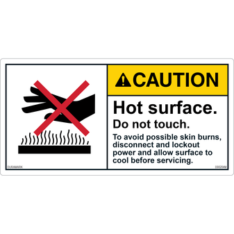 ANSI Safety Label - Caution - Hot Surface - Do Not Touch - Lockout