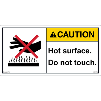ANSI Safety Label - Caution - Hot Surface - Do Not Touch - Hand