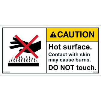 ANSI Safety Label - Caution - Hot Surface - Do Not Touch - Skin Burns