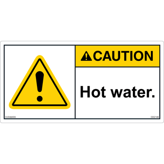 ANSI Safety Label - Caution - Hot Water