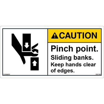 ANSI Safety Label - Caution - Pinch Point - Sliding Banks