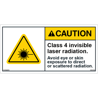 ANSI Safety Label - Caution - Invisible Laser - Class 4