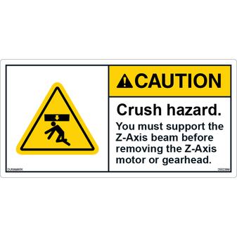 ANSI Safety Label - Caution - Crush Hazard