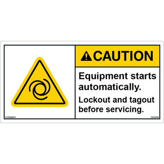 ANSI Safety Label - Caution - Equipment Start Automatically