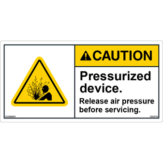 ANSI Safety Label - Caution - Pressurized Device