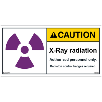 ANSI Safety Label - Caution - X-Ray Radiation - Authorized Personnel - Badges Required