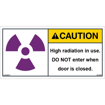 ANSI Safety Label - Caution - X-Ray Radiation - High - Do Not Enter