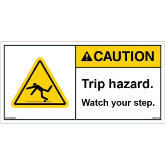 ANSI Safety Label - Caution - Trip Hazard - Watch Your Step