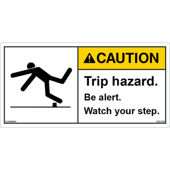 ANSI Safety Label - Caution - Trip Hazard - Be Alert