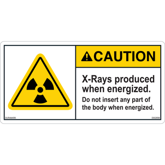 ANSI Safety Label - Caution - X-Ray - Prouduced When Energized