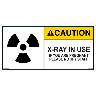 ANSI Safety Label - Caution - X-Ray - In Use - Notify if Pregnant