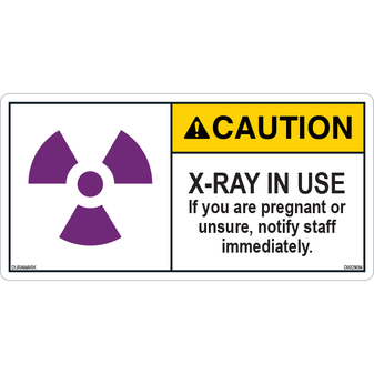 ANSI Safety Label - Caution - X-Ray - In Use - Notify if Pregnant/Unsure