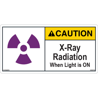ANSI Safety Label - Caution - X-Ray Radiation - Light On - Center