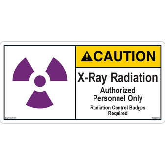ANSI Safety Label - Caution - X-Ray Radiation - Authorized Personnel