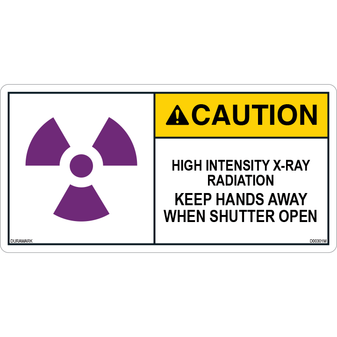 ANSI Safety Label - Caution - X-Ray - High Intensity - Keep Hands Away