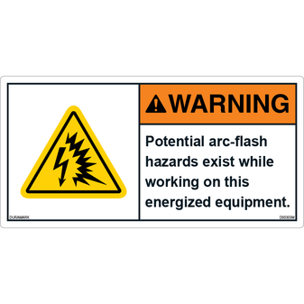 ANSI Safety Label - Warning - Arc/flash - Energized Equipment
