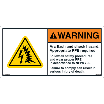 ANSI Safety Label - Warning - Arc/flash and Shock - PPE - NFPA 70E
