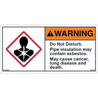 ANSI Safety Label - Warning - Asbestos - Do Not Disturb