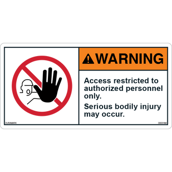 ANSI Safety Label - Warning - Authorized Personnel - Access Restricted