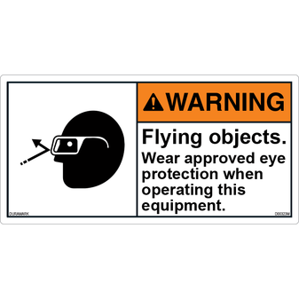 ANSI Safety Label - Warning - Flying Objects