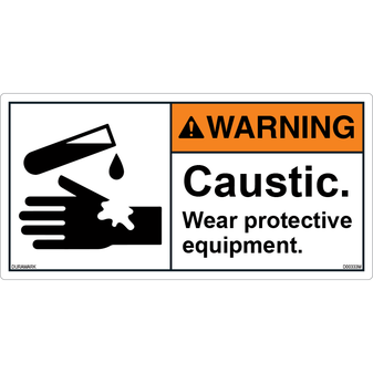 ANSI Safety Label - Warning - Caustic