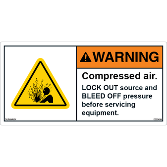 ANSI Safety Label - Warning - Triangle - Compressed Air