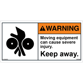 ANSI Safety Label - Warning - Moving Equipment