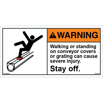 ANSI Safety Label - Warning - Stay Off Conveyor Cover