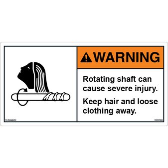 ANSI Safety Label - Warning - Rotating Shaft Injury