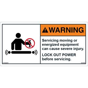 ANSI Safety Label - Warning - Servicing - Lockout Power