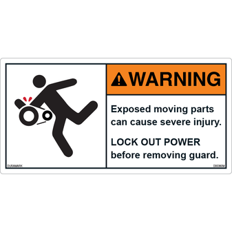 ANSI Safety Label - Warning - Lock out - Before Removing Guard